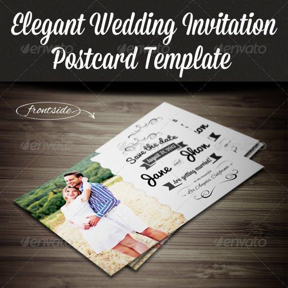 Elegant Wedding Invitation Postcard Template