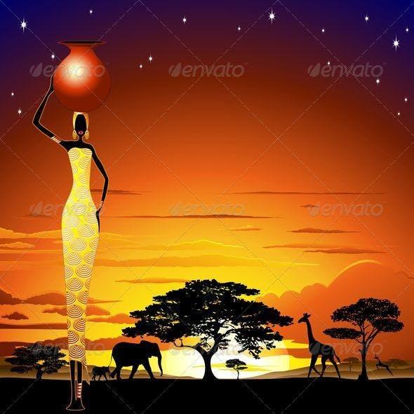 African Woman on Wild Savannah Sunset