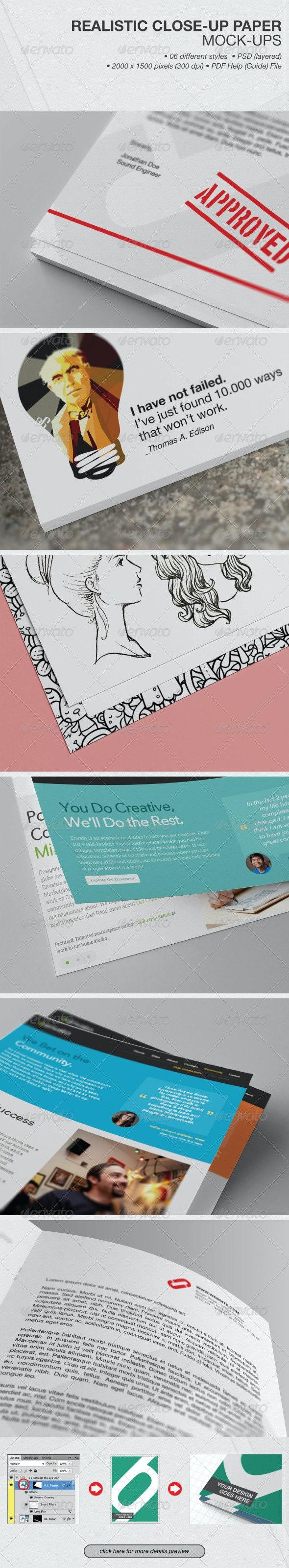 Realistic Close-up Paper Mock-ups - Product Mock-Ups Graphics