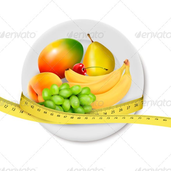 Diet Meal Fruit in a plate with measuring tape