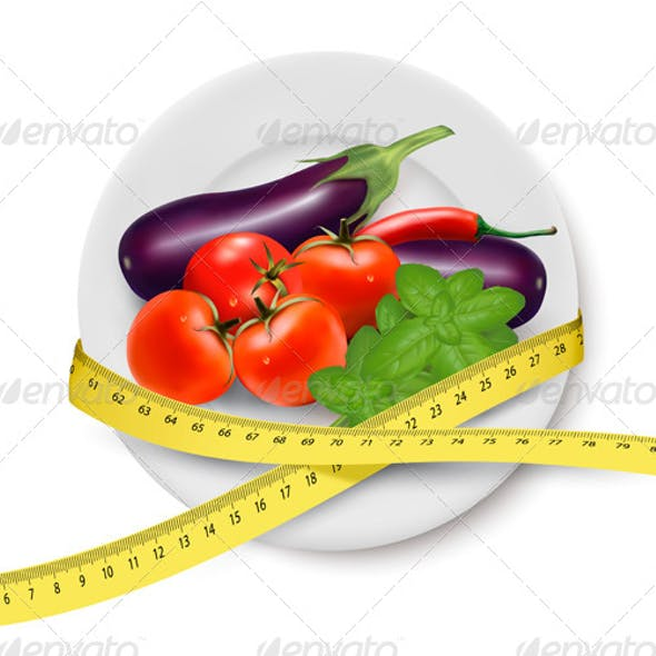 Vegetables in a Plate with Measuring Tape