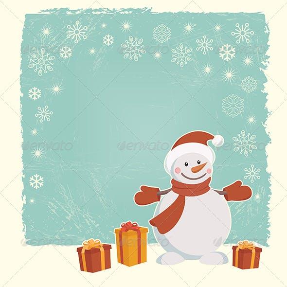 Retro Christmas Card with Snowman