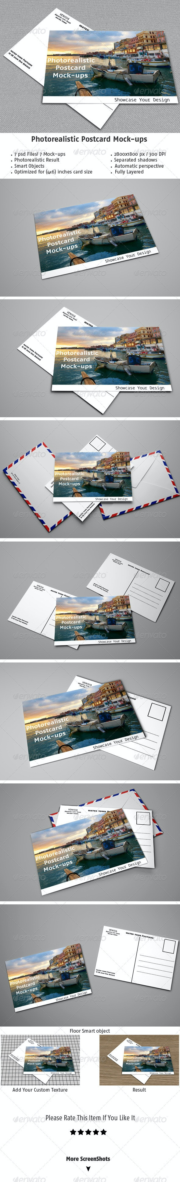 Realistic Postcard Mock-ups - Stationery Print