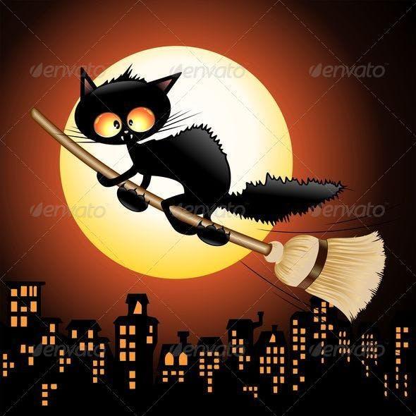 Halloween Black Cat Cartoon Flying on Witch Broom