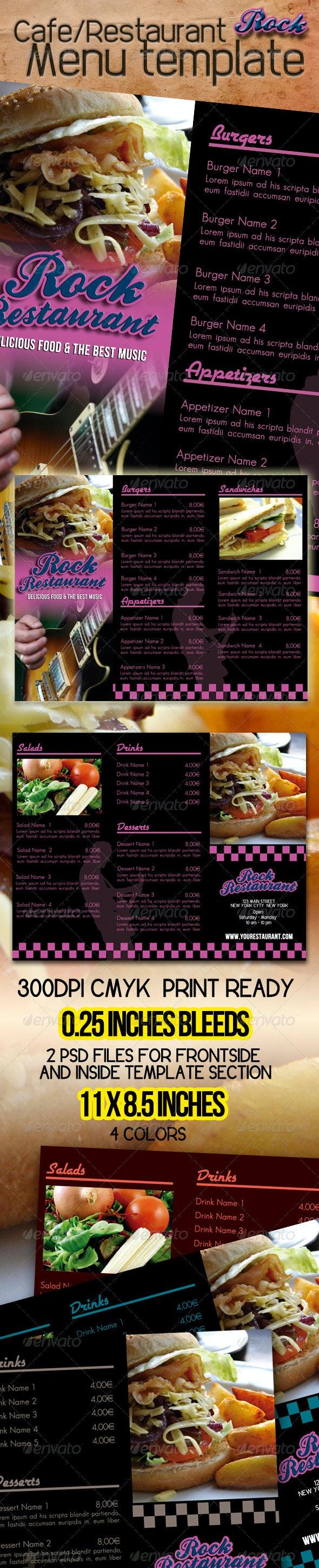 Rock Cafe Restaurant Menu Template - Food Menus Print Templates