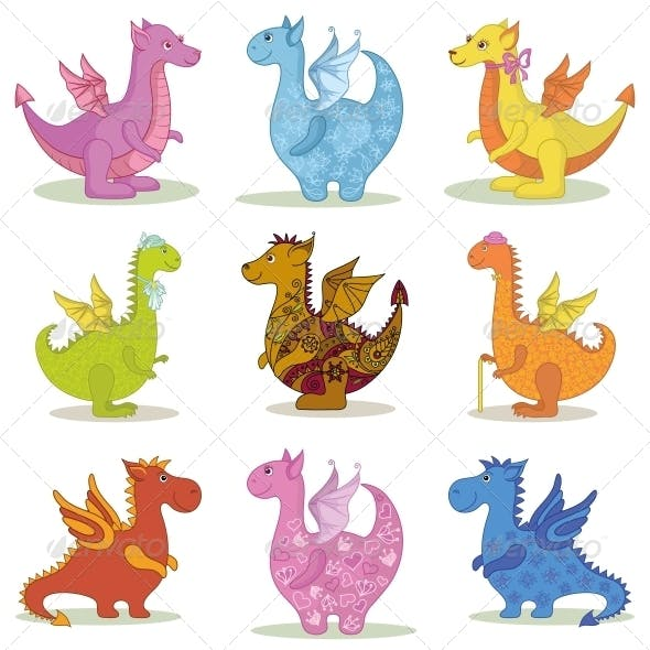 Set Cartoon Dragons