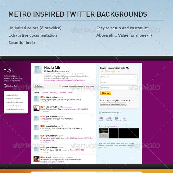 Metro Inspired Twitter Backgrounds