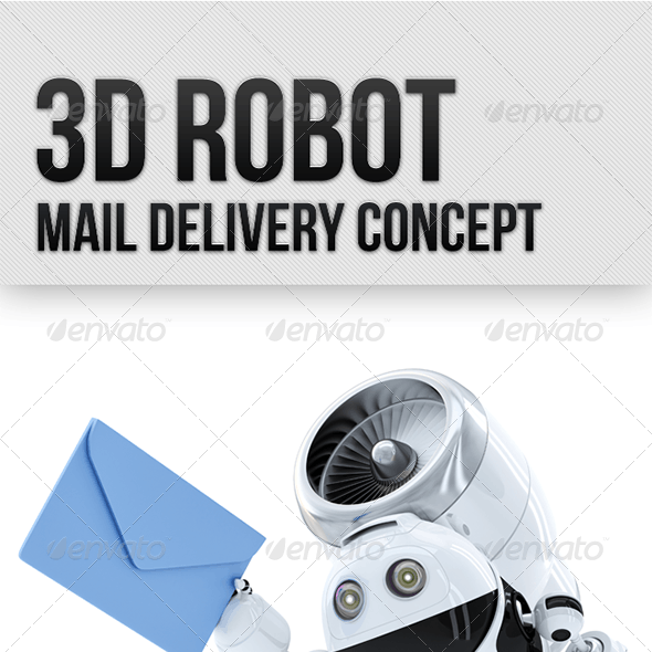 3D Robot. Mail Delivery Concept.