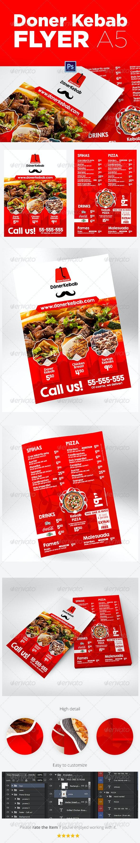 Doner Kebab A5 Flyer - Restaurant Flyers