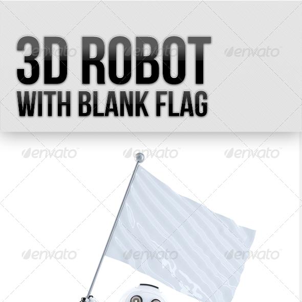 Robot with waving blank mockup flag