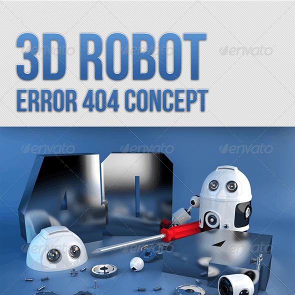 3D Robot. Error 404 concept.