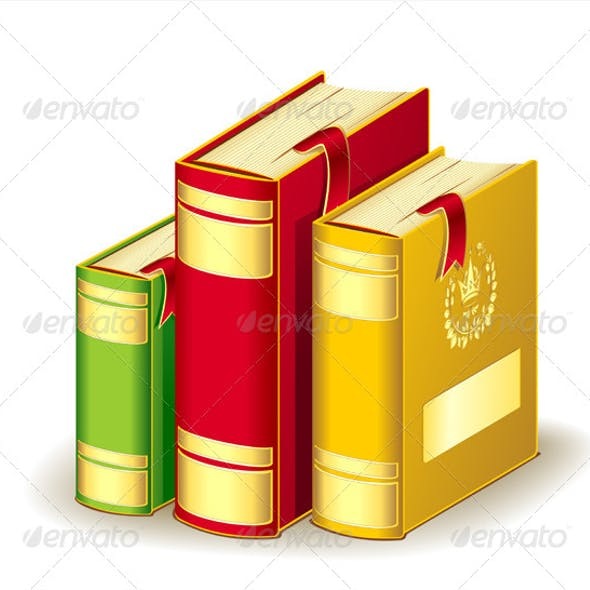 Tree Books Gold Red Green Colors with Bookmarks