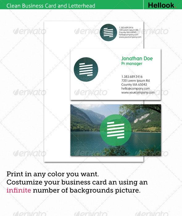 Clean Business Card and Letterhead - Corporate Business Cards
