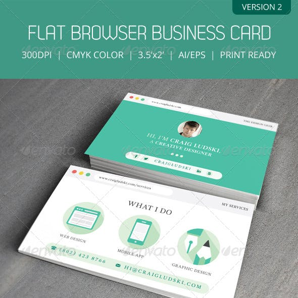 Flat Web Browser Business Card Version 2