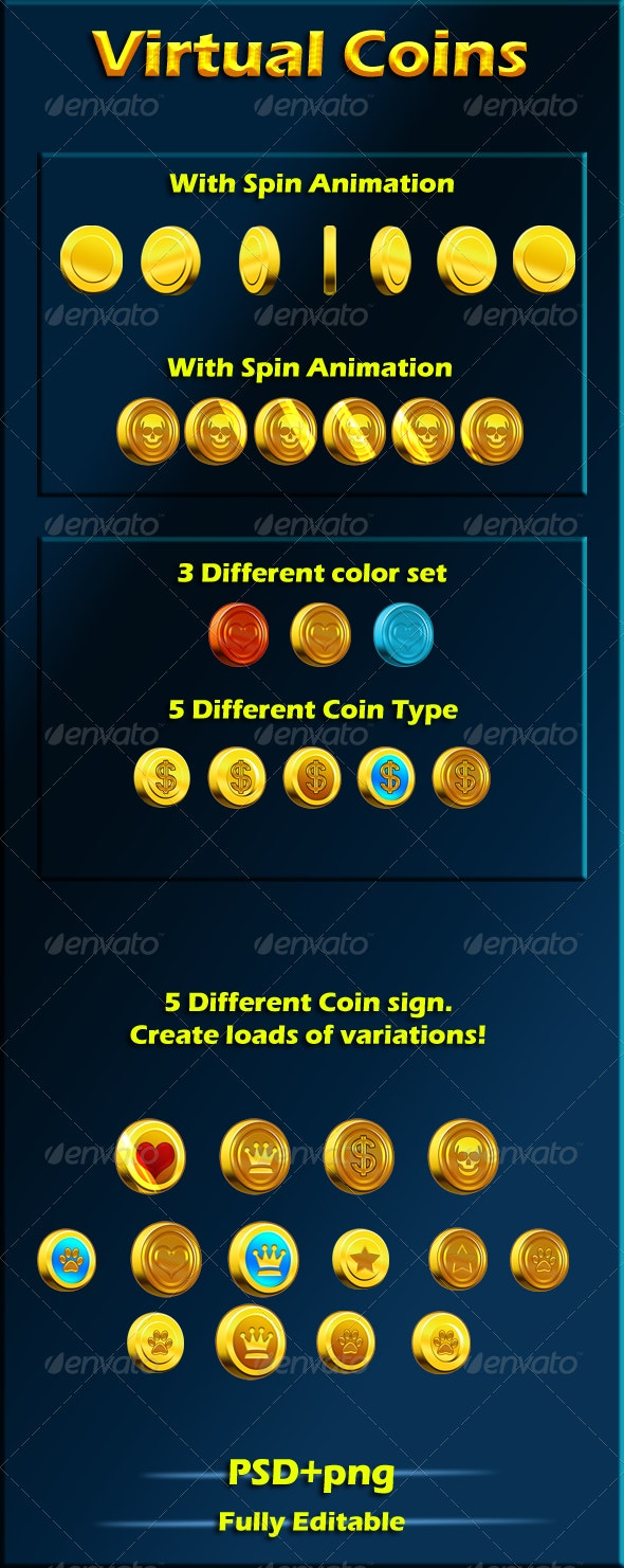 Virtual coins for your games - Sprites Game Assets