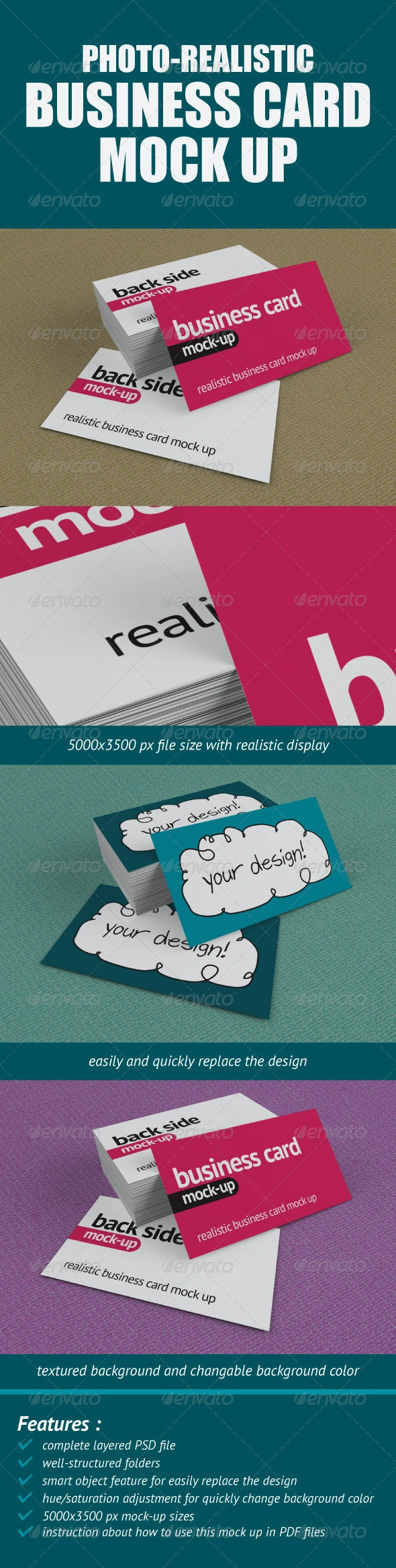 Photo-Realistic Business Card Mock-Up - Business Cards Print