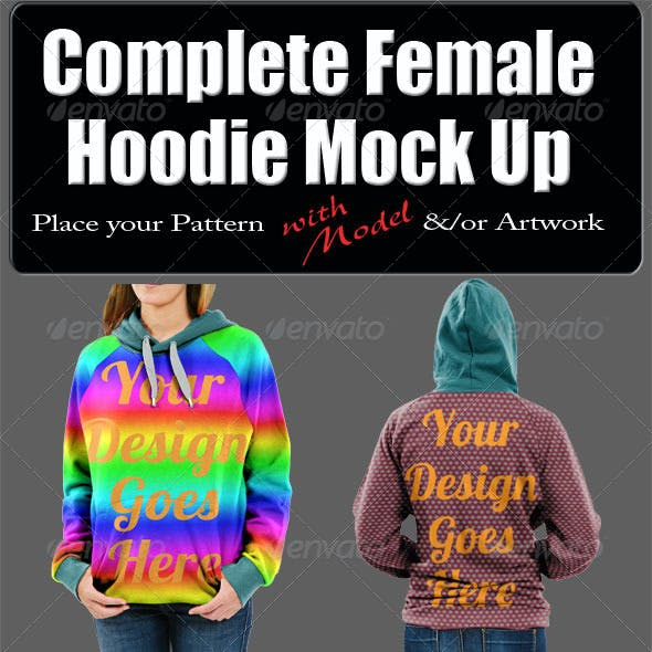 Complete Female Hoodie Mock Up with Model