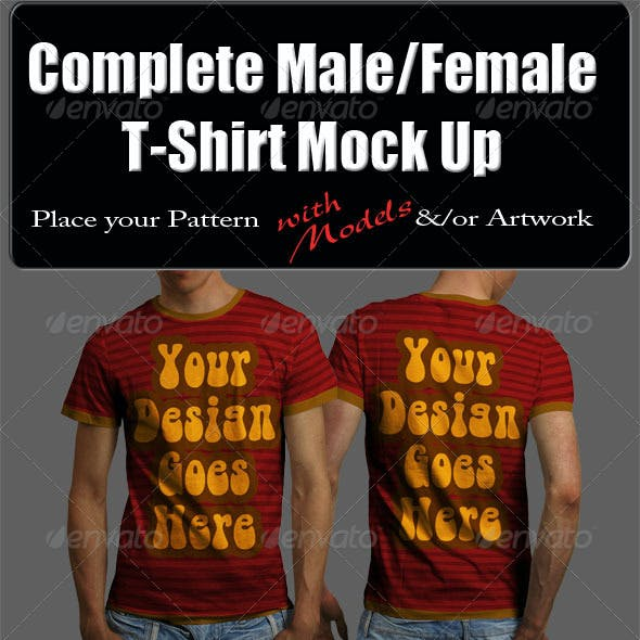 Complete Male & Female T-Shirt Mock Up with Model