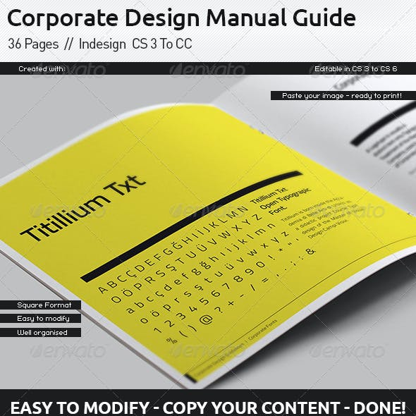 Corporate Design Manual Guide Square  // 36 Pages