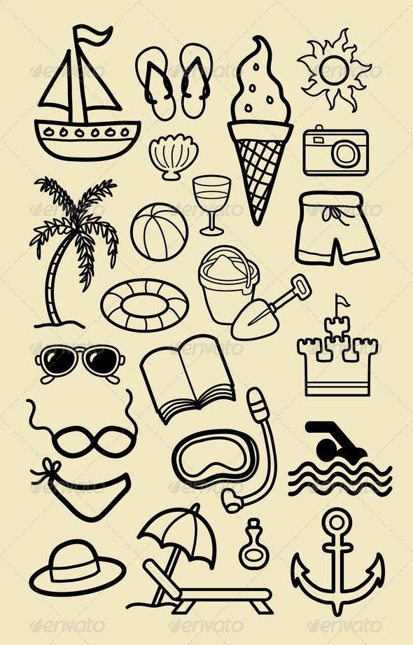 Summer Beach Icon Sketches - Seasons/Holidays Conceptual