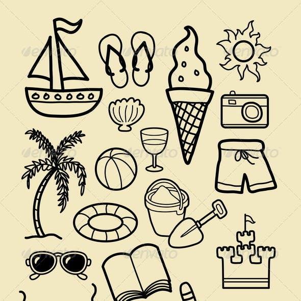 Summer Beach Icon Sketches