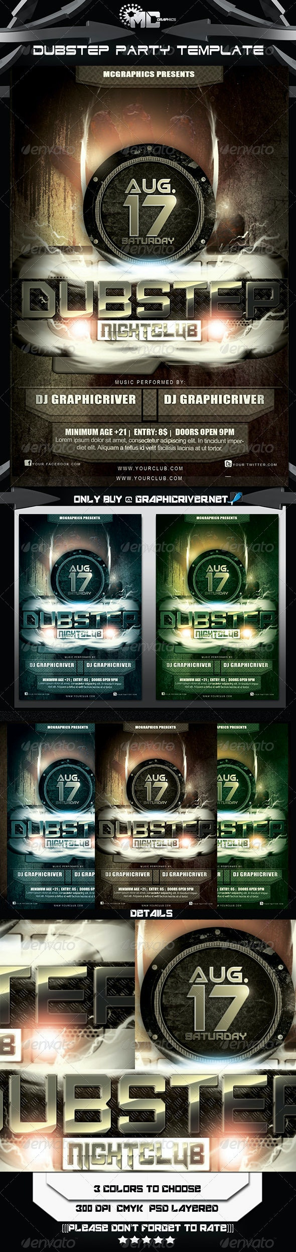 Dubstep  Party FlyerTemplate - Clubs & Parties Events