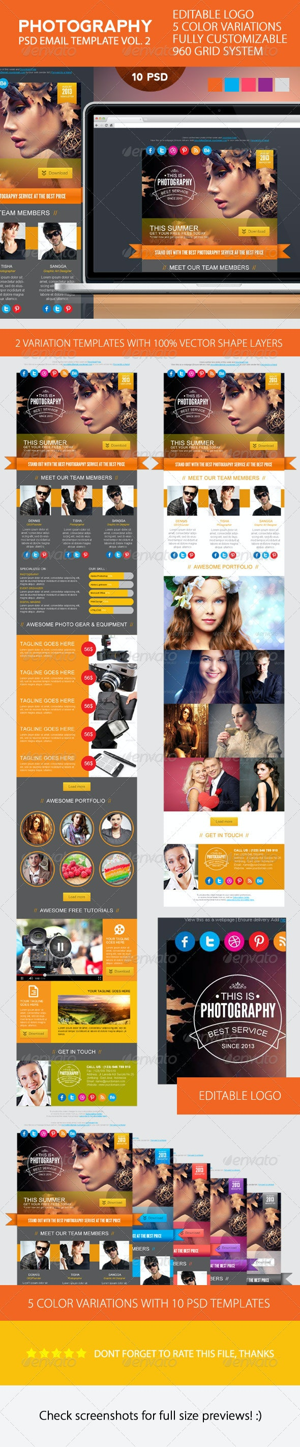 Photography PSD Email Template - E-newsletters Web Elements
