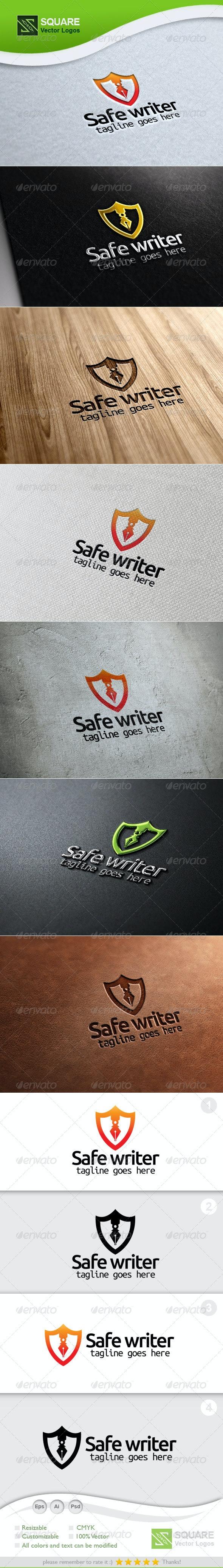 Shield, Writer Vector Logo Template