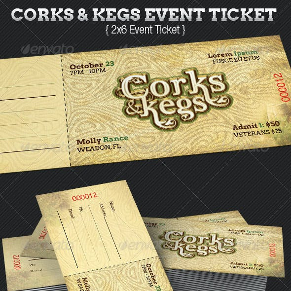 Corks And Kegs Ticket Template