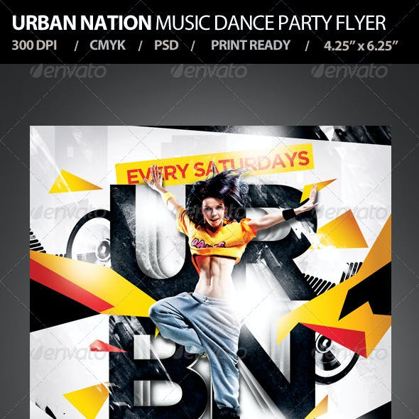 Urban Nation Music Dance Party Flyer