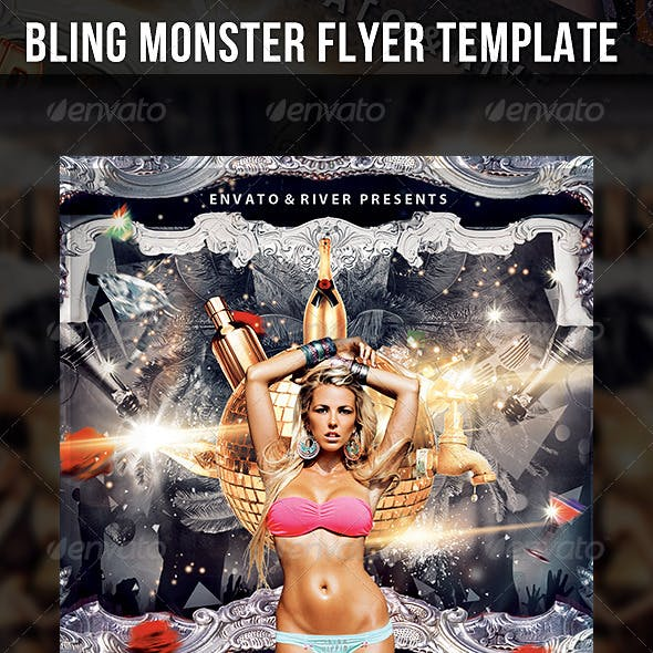 Bling Monster Party Flyer Template