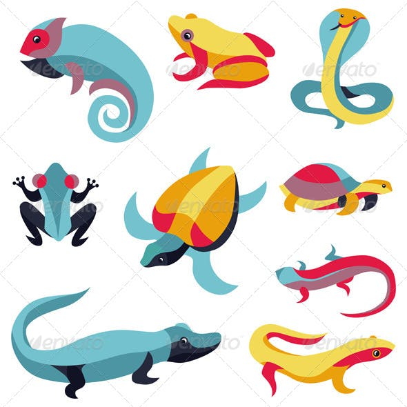 Vector Set of Logo Design Elements - Reptiles Signs