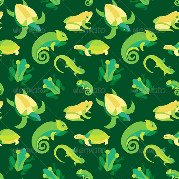 Seamless Pattern with Frogs and Reptiles