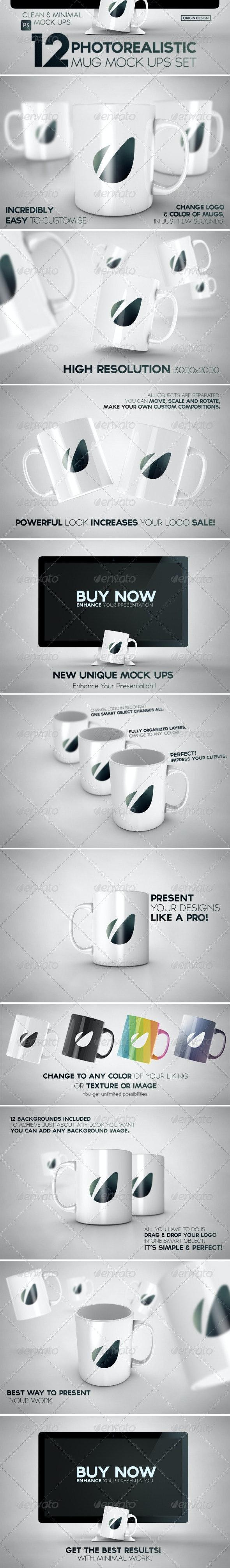 12 Photorealistic Mug Mockups Set - Logo Product Mock-Ups