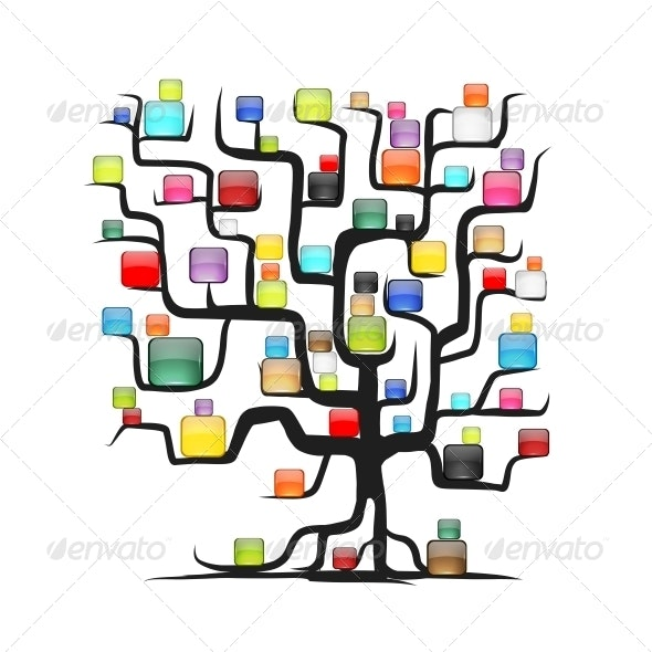 Abstract Tree with Glossy Squares