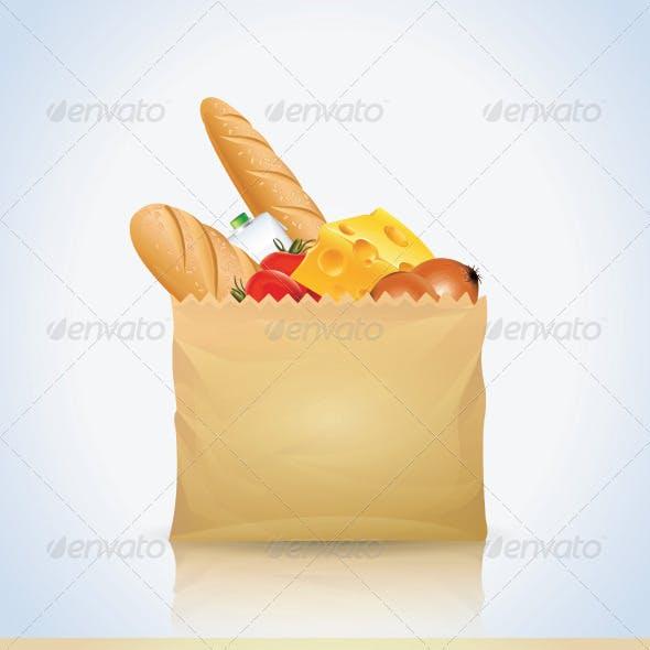 Paper Bag with Food Set
