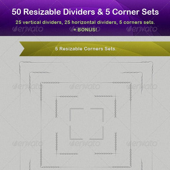 50 Vector Resizable Dividers + 5 Corner Sets