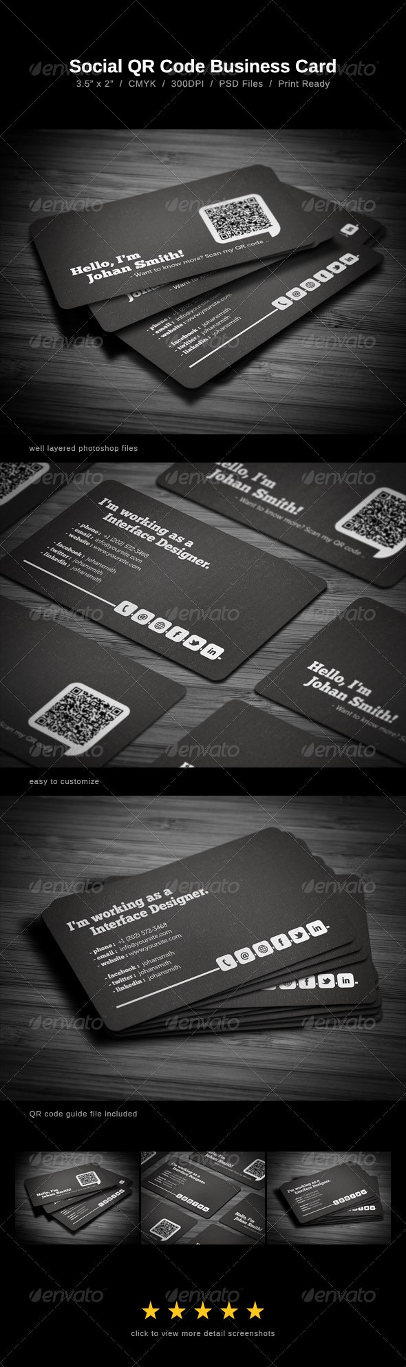 Social QR Code Business Card - Creative Business Cards