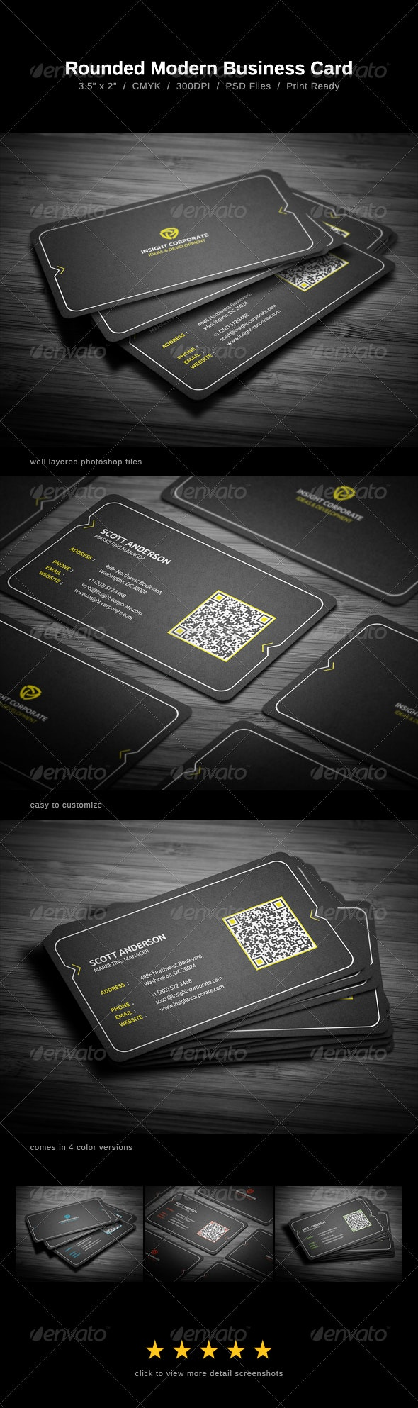 Rounded Modern Business Card - Corporate Business Cards