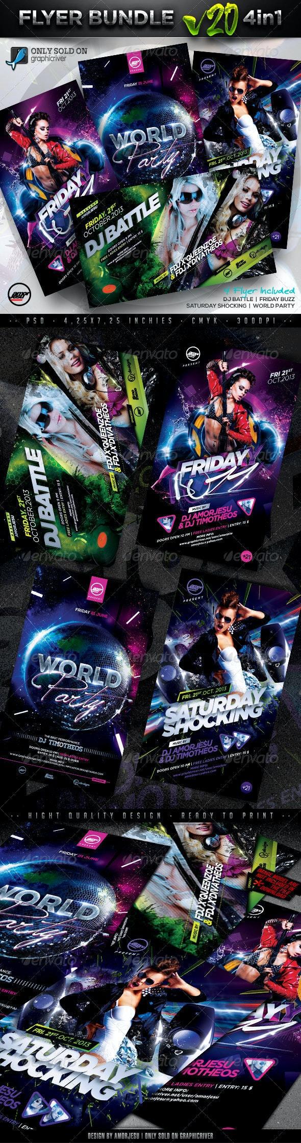 Flyer Bundle Vol20 - 4 in 1 - Clubs & Parties Events