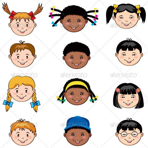 Multi Ethnic Kids Faces - People Characters