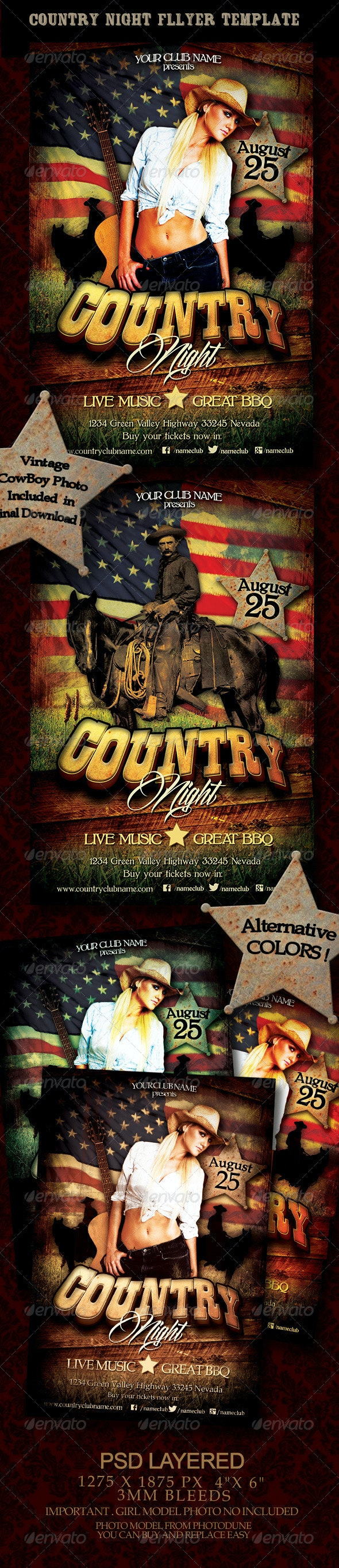 Country Night Flyer Template - Clubs & Parties Events