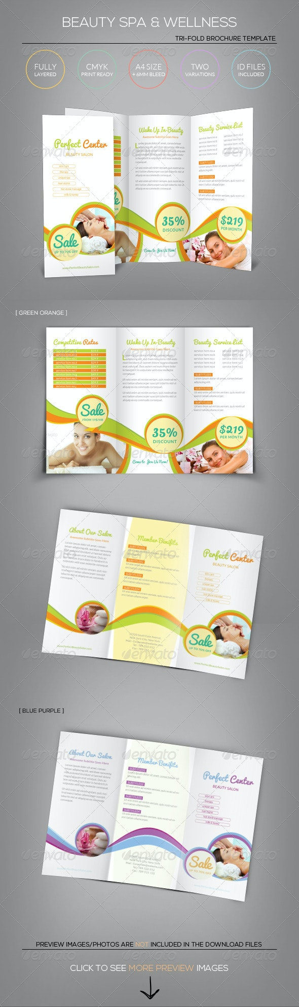 Beauty Spa & Wellness - Tri-Fold Brochure Template - Corporate Brochures