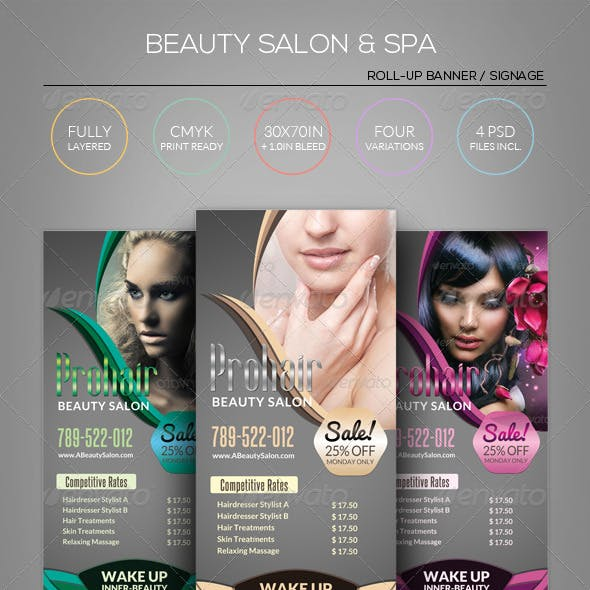 Beauty Salon & Spa - Roll-Up Banner Template
