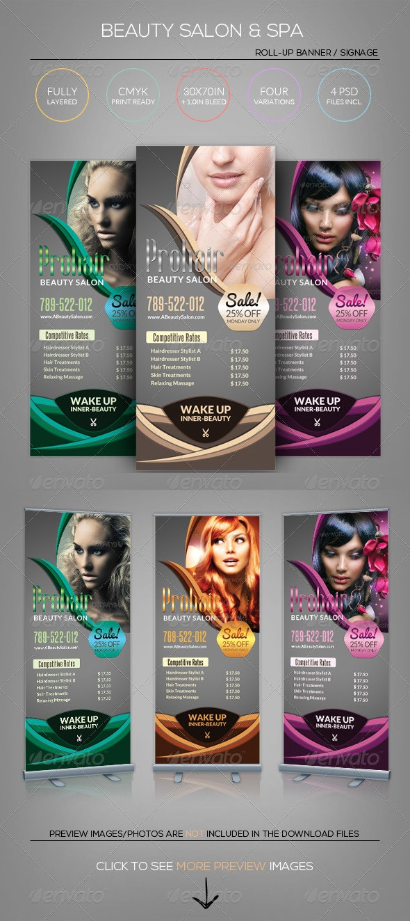Beauty Salon Spa Roll Up Banner Template By Katzeline Graphicriver