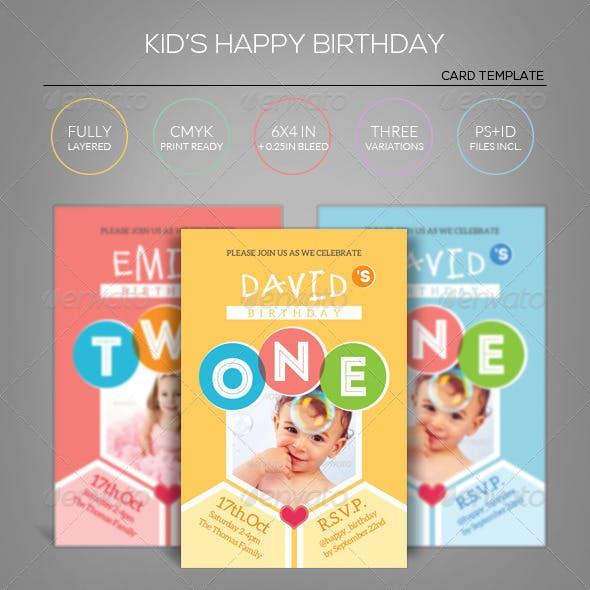 Kid's Happy Birthday Card - Invitation Template
