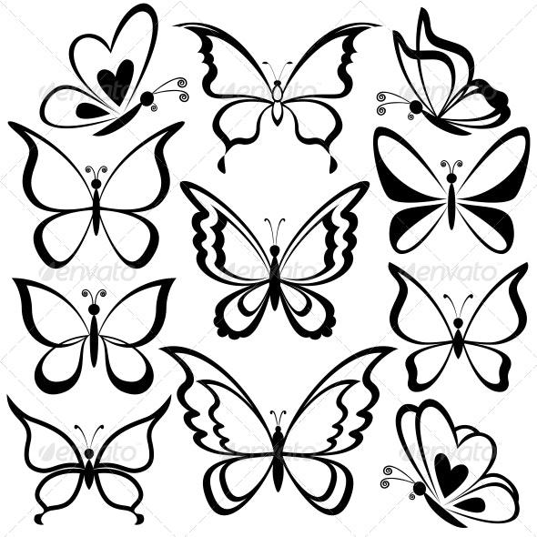 Butterflies, Black Contours - Animals Characters