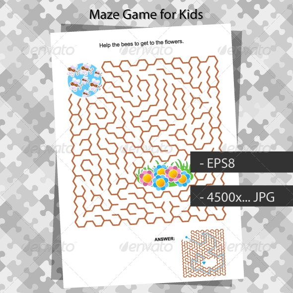 Maze Game for Kids with Bees and Flowers - Seasons/Holidays Conceptual