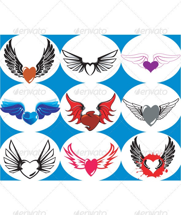 Nine Brand New Hearts on the Wings - Abstract Conceptual