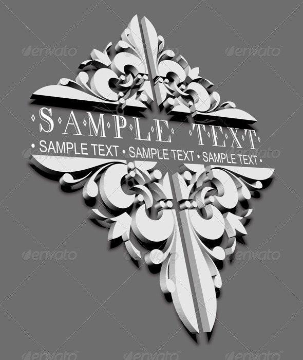 3D Decorative Vintage Ornate Banner. - Retro Technology